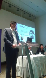 Secretary General at Hellenic Ministry of Shipping, Mr Dionyssis Kalamatianos during his speech at Elemed event, Killini